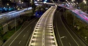 Сцена ночи движения и дорог Промежуток времени - долгая выдержка - 4K (14) видеоматериал