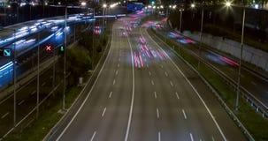 Сцена ночи движения и дорог Промежуток времени - долгая выдержка - 4K (11) сток-видео