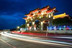 Сцена ночи виска Wen Wu стоковые изображения rf