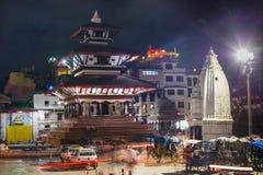 Сцена ночи висков в квадрате в 2014, Катманду Durbar, Непале стоковые фотографии rf