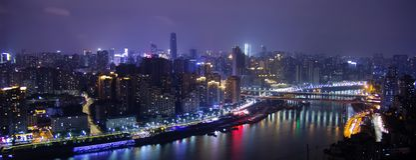 Сцена ночи в Чунцине, Китае стоковые изображения rf