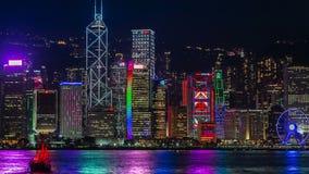 Сцена ночи гавани Гонконга Виктории 4K TimeLapse - август 2016, Гонконг сток-видео