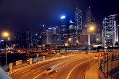 Сцена ночи Гонконга центральная Стоковая Фотография