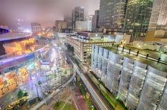 Сцена ночи горизонта города Шарлотты в тумане Стоковое Фото