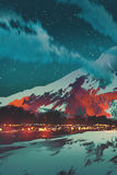 Сцена ночи деревни в горе иллюстрация штока