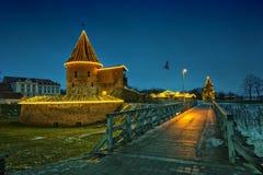 Сцена ночи замка Каунаса рождества Стоковые Изображения