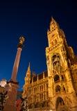 Сцена ночи здание муниципалитета Мюнхена (¼ MÃ nchen) Стоковое Изображение RF
