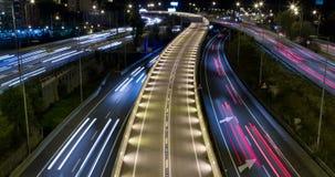 сцена ночи Кино-диаграммы движения и дорог Промежуток времени - долгая выдержка - 4K видеоматериал