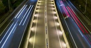 сцена ночи Кино-диаграммы движения и дорог Промежуток времени - долгая выдержка - 4K сток-видео