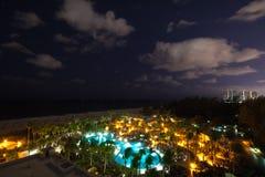 Сцена ночи на курорте в Fort Lauderdale, Майами Стоковая Фотография RF