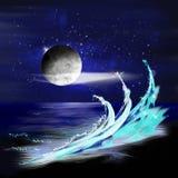 Сцена ночи океана стоковое фото rf