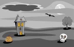 Сцена ночи дома хеллоуина пугающая Стоковая Фотография