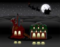 Сцена ночи праздника рождества приполюсная Стоковые Фотографии RF