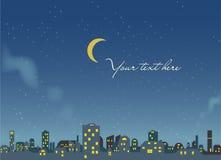 Сцена ночи - предпосылка города -  иллюстрация штока