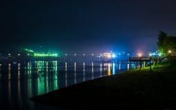 Сцена ночи реки Стоковое Изображение RF