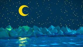Сцена ночи с луной и поверхностью воды с иллюстрацией айсбергов 3D стоковое изображение rf
