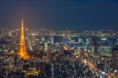 Сцена ночи токио, панорамный взгляд Стоковая Фотография