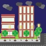 Сцена ночи улицы города здания стиля шаржа иллюстрация вектора