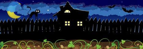 Сцена ночи хеллоуина бесплатная иллюстрация