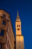 Сцена ночи церков Мюнхена Frauenkirche (¼ MÃ nchen) Стоковое Изображение RF