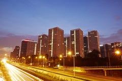 Сцена ночи CBD, город Пекина стоковые фото
