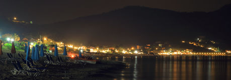 Сцена ночи pagon georgios ажио городка на острове Корфу Стоковое фото RF