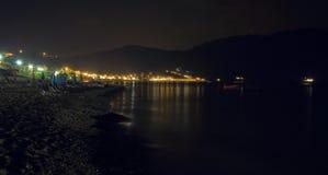 Сцена ночи pagon georgios ажио городка на острове Корфу Стоковое Фото