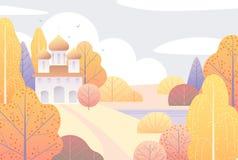 Сцена осени с церковью и желтыми деревьями Стоковое Изображение