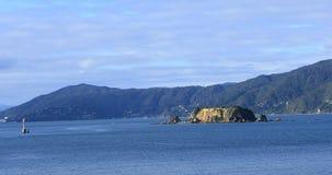 Сцена от пролива повара, Новой Зеландии около Веллингтона 4K видеоматериал