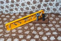 Сцена от ткани стрельба Игрушки пластмассы Разнообразие инструменты или легкий в использовании с инструментами Строя как игра Стоковое Фото