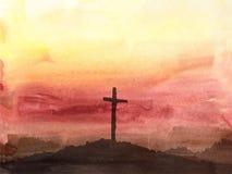 Сцена пасхи с крестом Иллюстрация вектора акварели Иисуса Христоса Стоковые Изображения RF
