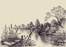Сцена подачи реки иллюстрация вектора