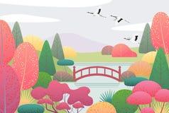Сцена природы с летящими журавлями и японским садом иллюстрация вектора