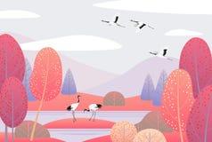 Сцена природы с японскими кранами и деревьями осени Стоковые Фото