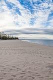 Сцена пляжа в портрете с следами ноги Стоковые Изображения