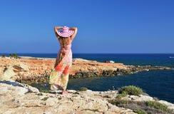 Сцена пляжа, Кипр стоковое изображение rf