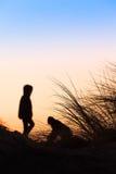 Сцена пляжа силуэта Стоковые Фотографии RF