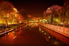 Сцена реки на ноче Стоковые Изображения