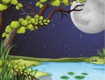 Сцена реки на ноче fullmoon Стоковое фото RF