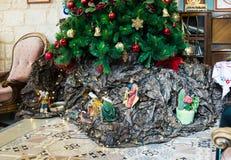 Сцена рождения сына бога в базилике сцены theThe рождения сына бога в базилике Энн Стоковая Фотография