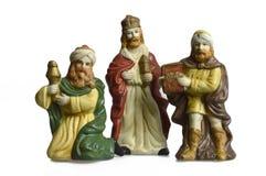 Сцена рождества рождества при 3 короля изолированного на белизне Стоковое Изображение