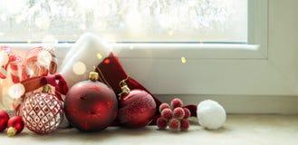 Сцена рождества с горящим светом Стоковые Фотографии RF