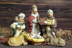 Сцена рождества с 3 королями и младенцем Иисусом Стоковая Фотография RF