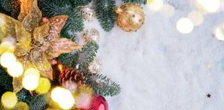 Сцена рождества с снегом Стоковые Изображения RF