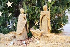 Сцена рождества, в квадрате Cima, в Conegliano венето, Италия, детали Стоковые Фотографии RF