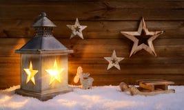 Сцена рождества в теплом свете фонарика Стоковые Фотографии RF