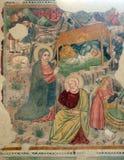 Сцена рождества, картина фрески Стоковое Фото