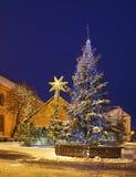 Сцена рождества на малой рыночной площади в Торуне Польша Стоковые Фотографии RF