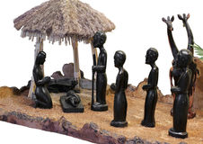 Сцена рождества от Танзании с святой семьей с диаграммами Стоковое Изображение