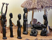 Сцена рождества от Танзании с святой семьей с диаграммами Стоковая Фотография RF
